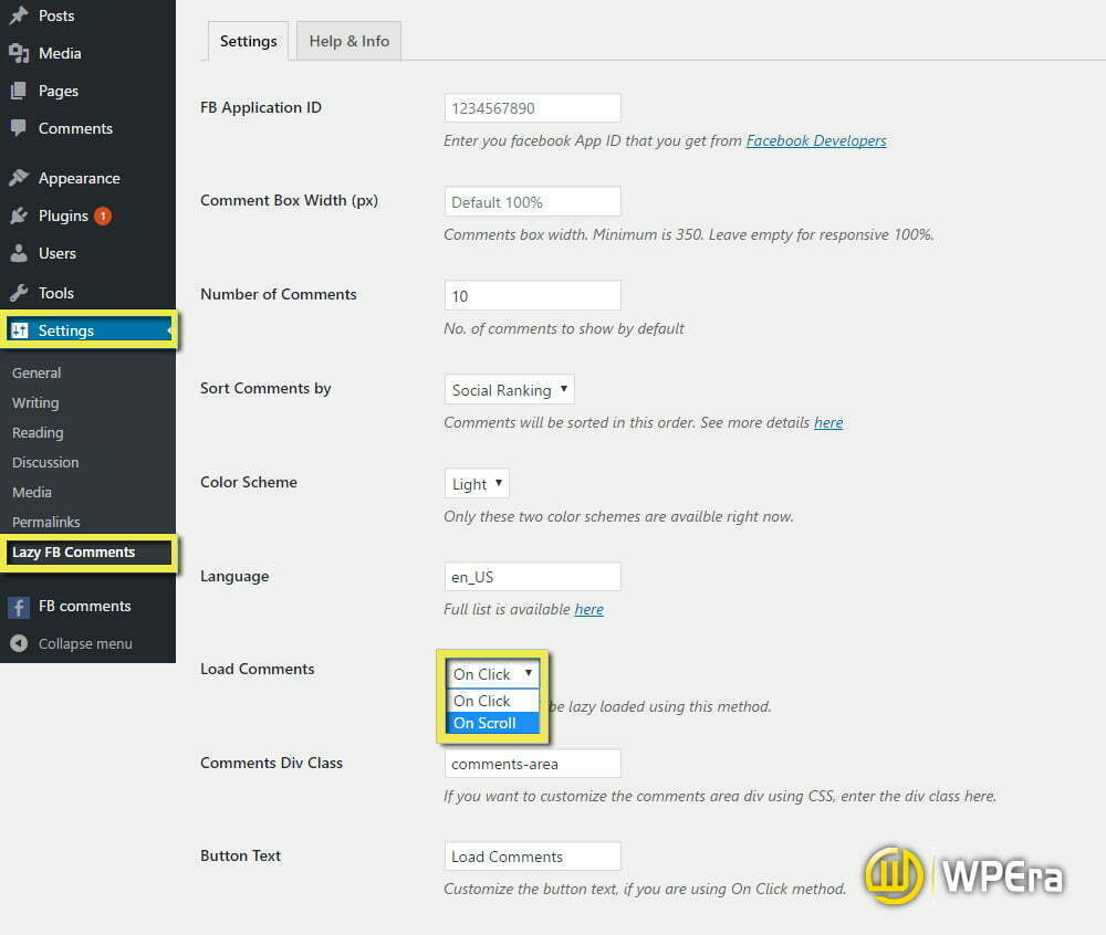 lazy load fb comments plugin dashboard