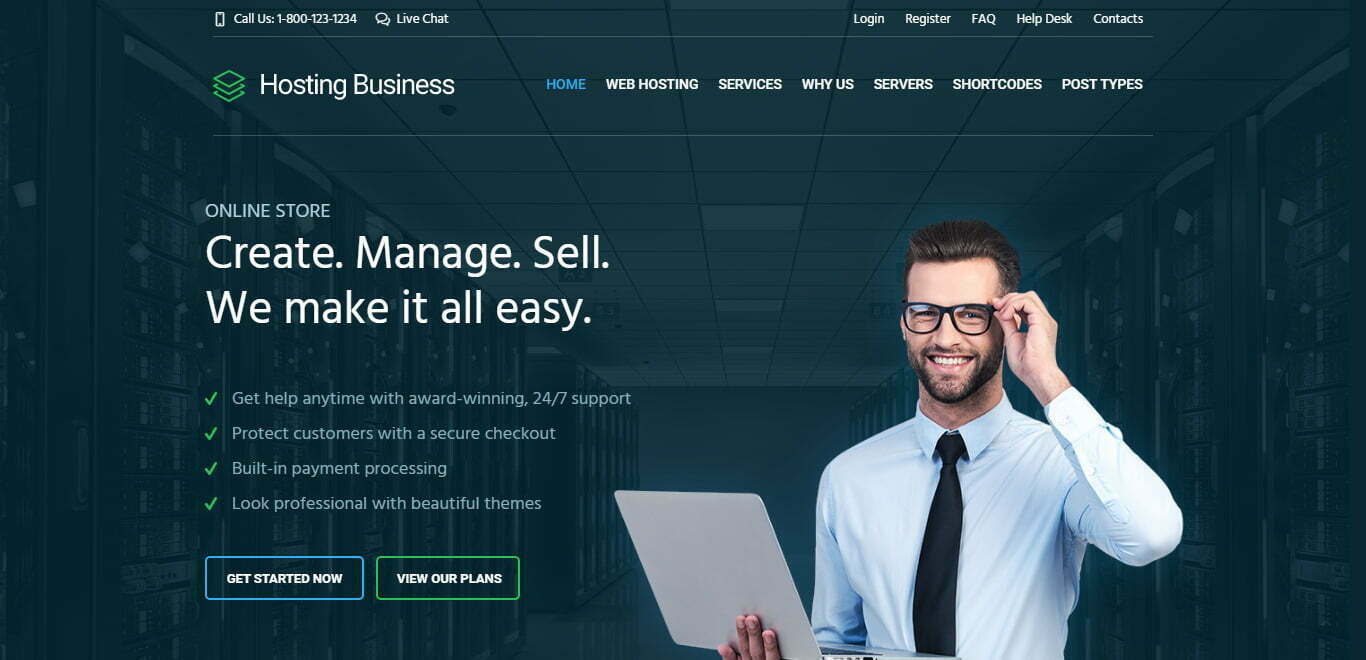 hosting business wordpress theme